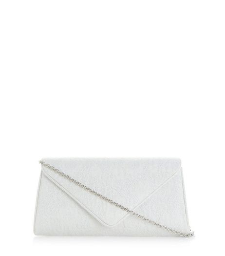 White Jaquard Clutch | New Look