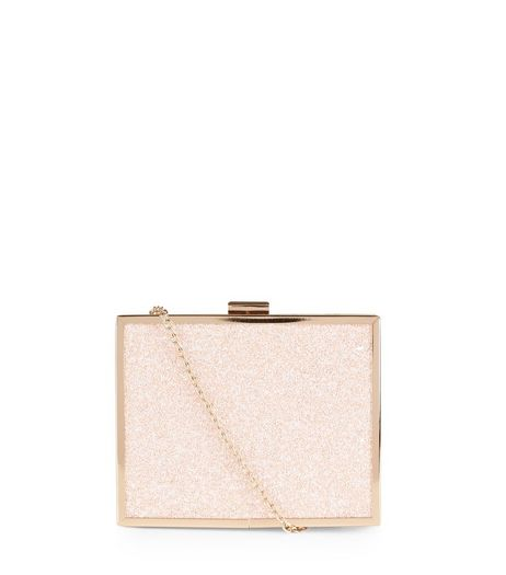 Pink Glitter Box Clutch | New Look