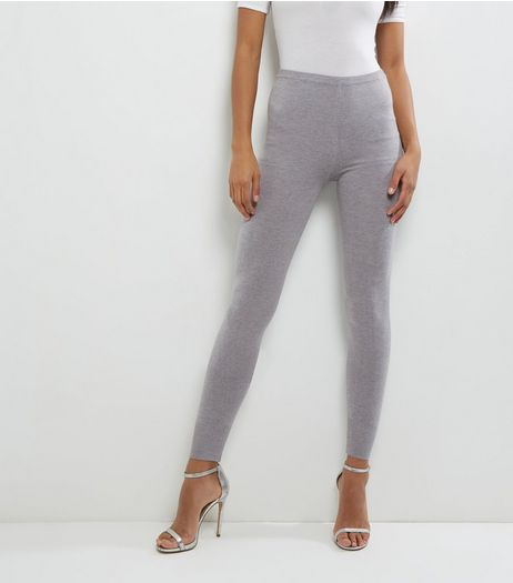 QED Grey Knitted Leggings  | New Look