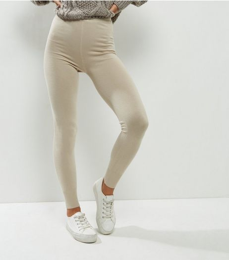 QED Tan Knitted Leggings  | New Look