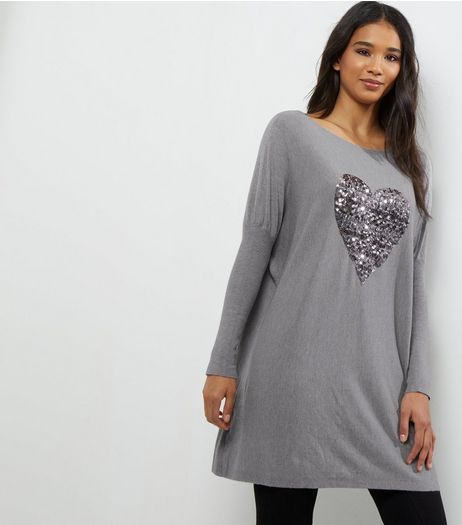 QED Grey Sequin Heart Longline Jumper  | New Look