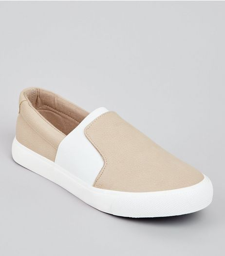 Teens Cream Contrast Elasticated Strap Plimsolls | New Look
