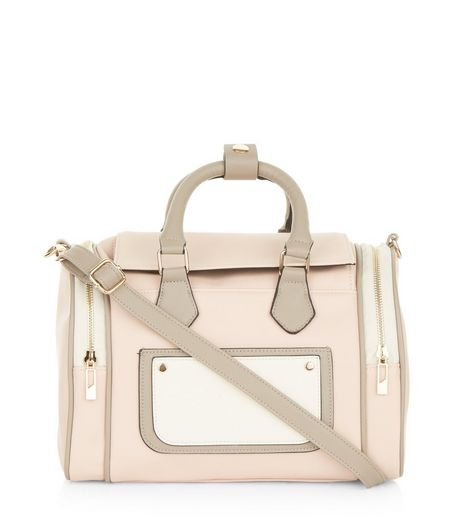 Cream Pocket Front Sporty Bowler Bag | New Look