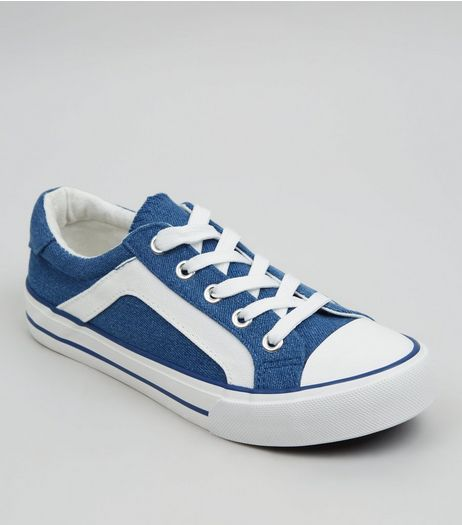 Teens Blue Contrast Stripe Lace Up Trainers | New Look