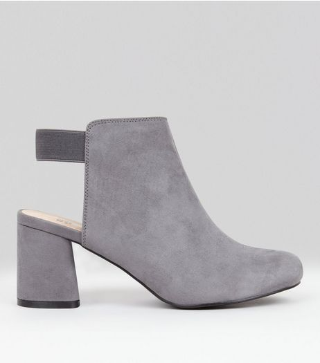 Teens Grey Suedette Elasticated Back Boots  | New Look