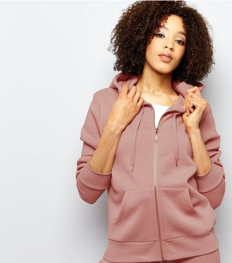 Shell Pink Zip Front Hoodie | New Look