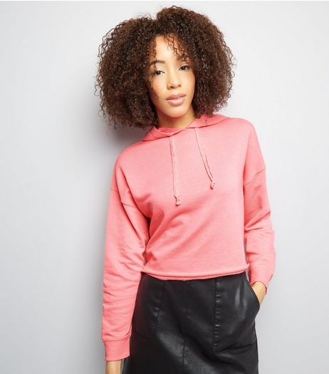 Bright Pink Cropped Hoodie | New Look