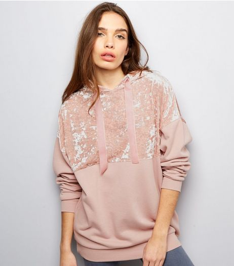 Shell Pink Crushed Velvet Panel Yoke Hoodie  | New Look