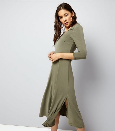 Khaki Jersey Long Sleeve Midi Skater Dress  | New Look