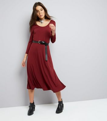 Burgundy Long Sleeve Skater Midi Dress