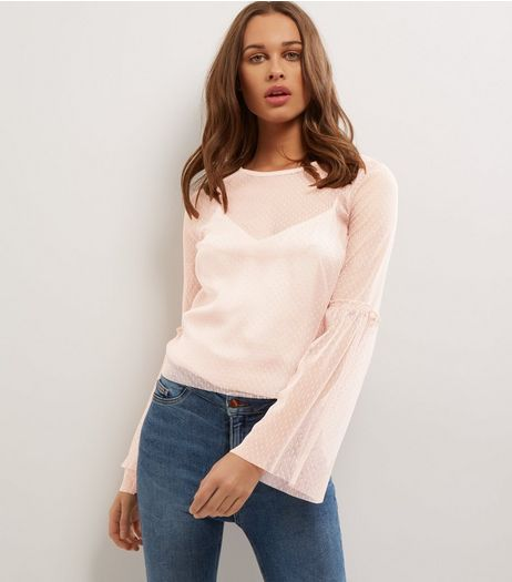 Pink Spot Mesh Bell Sleeve Top  | New Look