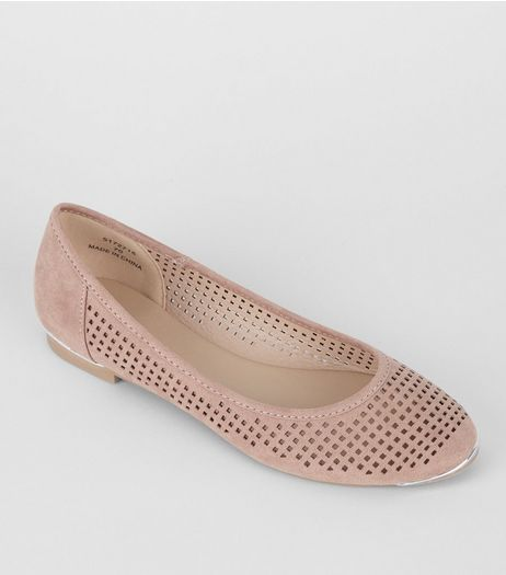 Pink Lazer Cut Ballet Pumps | New Look