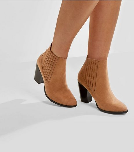 Wide Fit Tan Suedette Elasticated Side Boots | New Look
