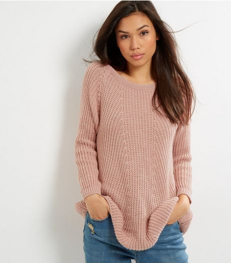 Loving This Shell Pink Lace Up Back Jumper | New Look