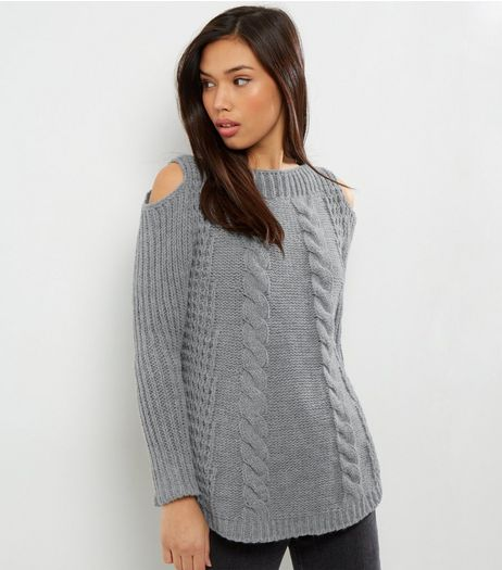 Loving This Grey Cold Shoulder Cable Knit Jumper | New Look
