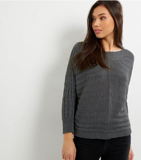 Loving This Grey Ribbed Batwing Jumper | New Look