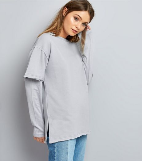 Pale Grey 2 in 1 Layered-Look Sweater  | New Look