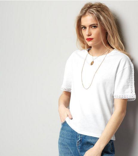 White Lace Trim Top  | New Look