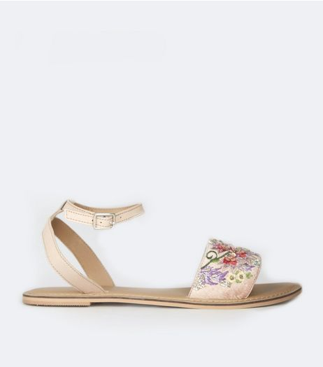 Nude Pink Floral Embellished Sandals | New Look