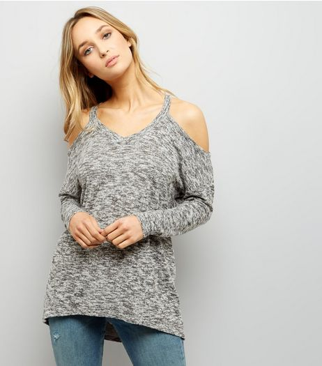 Grey Cold Shoulder Long Sleeve Top | New Look