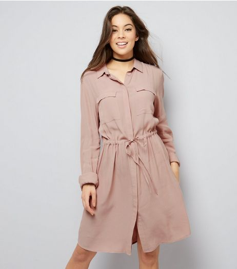 Tall Shell Pink Double Pocket Shirt Dress | New Look