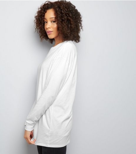 White Longline Skater T-Shirt  | New Look