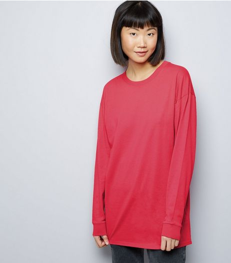 Bright Pink Longline Skater T-Shirt  | New Look
