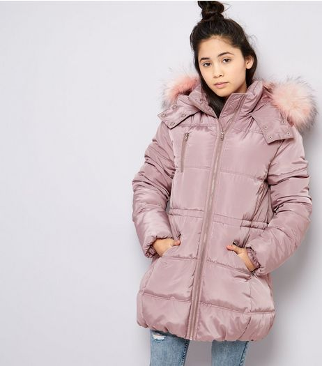 Teens Pink High Shine Faux Fur Trim Hooded Puffer Jacket | New Look