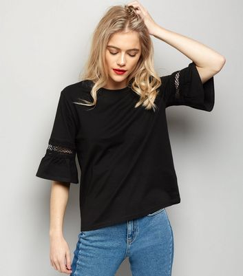 Black Cut Out Frill Sleeve T-Shirt