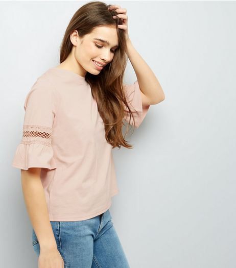 Pink Cut Out Frill Sleeve T-Shirt  | New Look
