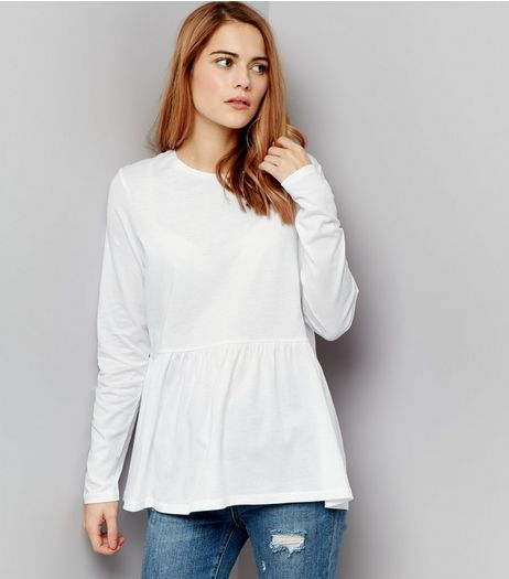 White Frill Hem Long Sleeve Top | New Look