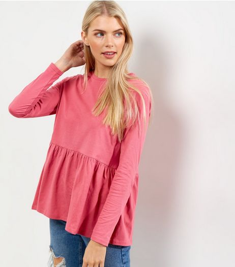 Bright Pink Frill Hem Long Sleeve Top  | New Look
