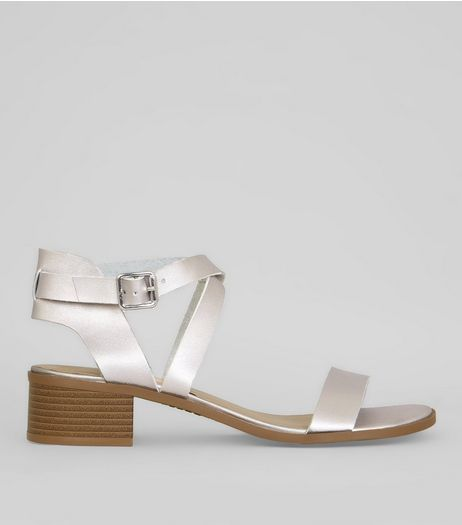 Silver Strappy Block Heel Sandals | New Look