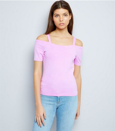Purple Fitted Cold Shoulder Top  | New Look