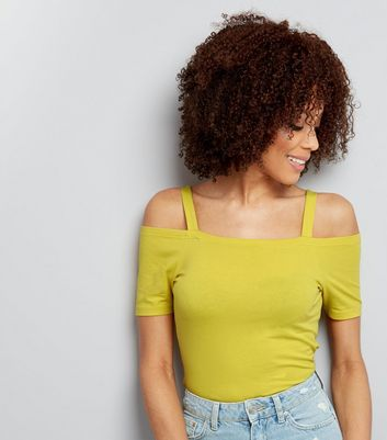 Yellow Fitted Cold Shoulder Top