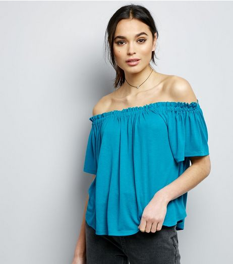 Blue Shirred Bardot Neck Top | New Look