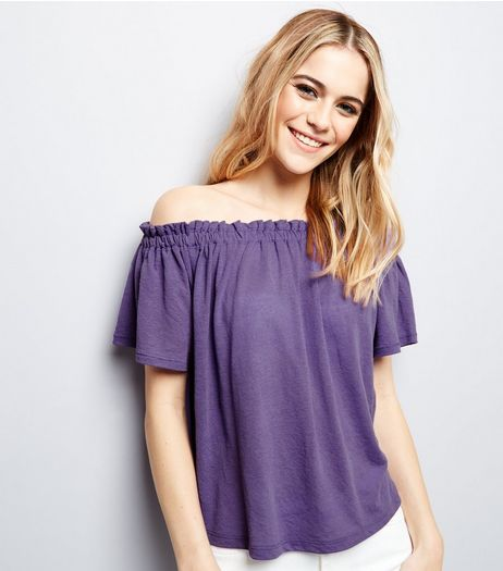 Purple Shirred Bardot Neck Top  | New Look