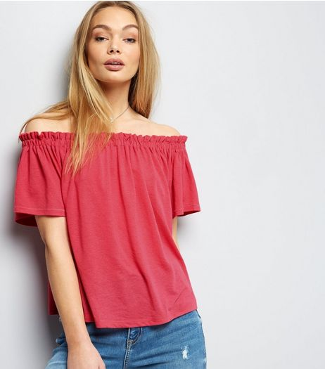 Bright Pink Shirred Bardot Neck Top  | New Look