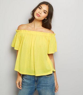 Yellow Shirred Bardot Neck Top