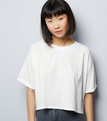 White Ripped Short Sleeve Crop Top