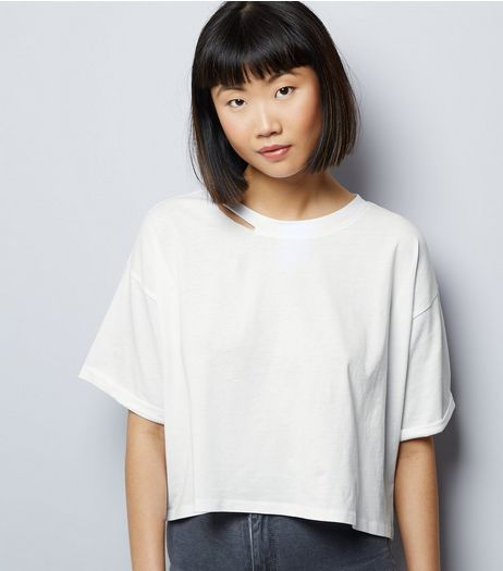 White Ripped Short Sleeve Crop Top  | New Look