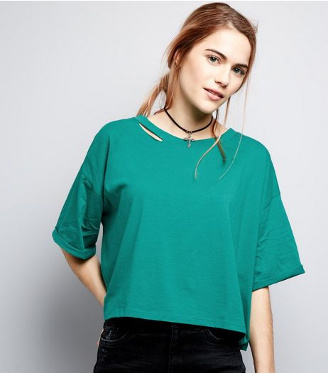 Green Ripped Short Sleeve Crop Top | New Look