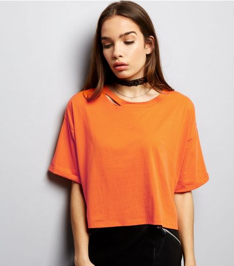 Bright Orange Ripped Back Crop Top  | New Look