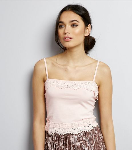 Pink Lace Trim Cropped Cami Top  | New Look
