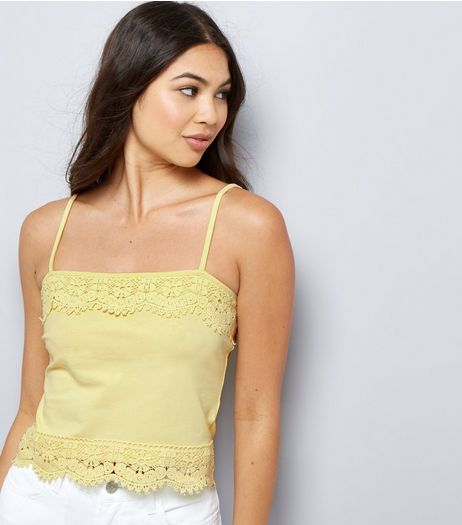 Yellow Lace Trim Cropped Cami Top  | New Look