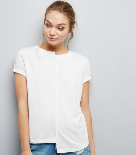 White Asymmetric Spliced T-Shirt | New Look