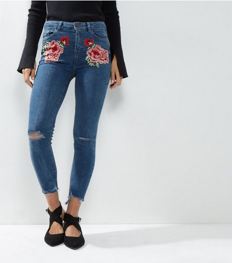 Blue Floral Embroidered Ripped Knee Skinny Jenna Jeans  | New Look