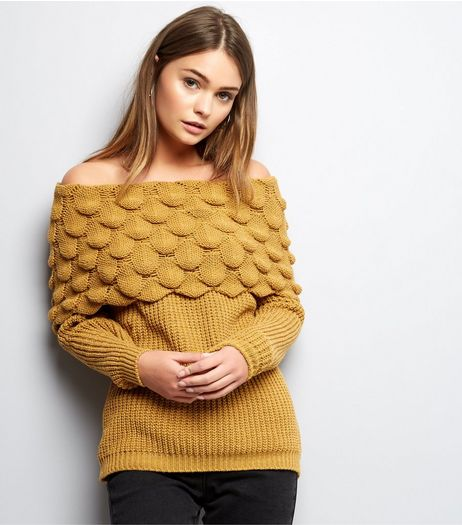 Cameo Rose Yellow Bubble Bardot Neck Jumper | New Look
