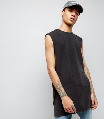 Black Acid Wash Longline Vest