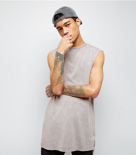 Light Grey Acid Wash Longline Vest | New Look